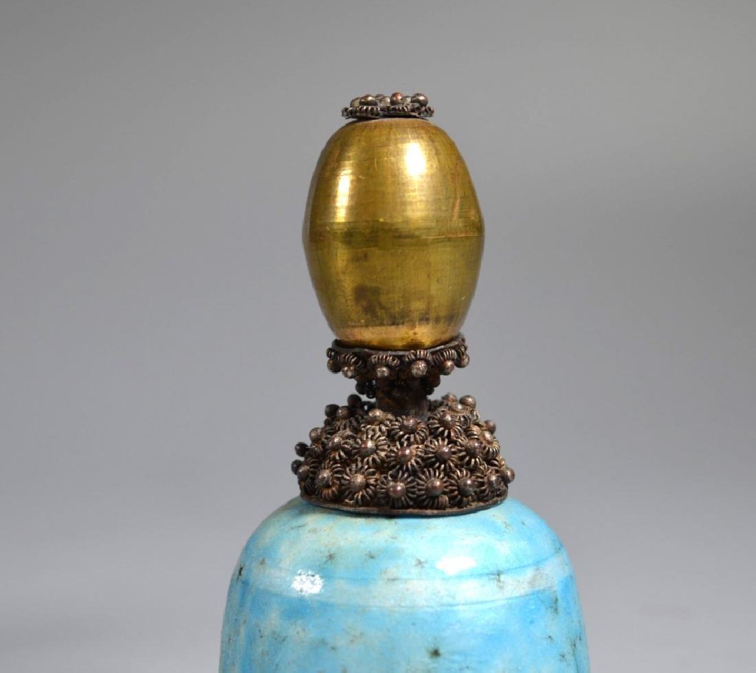 3 Chinese Manchu Rank Hat Balls Mounted on Bells - 6