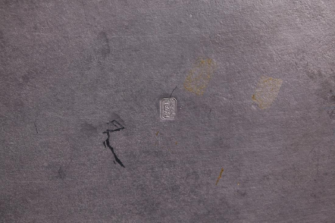 Chinese Bronze Inlaid Pewter Garden Seat & Cover - 7