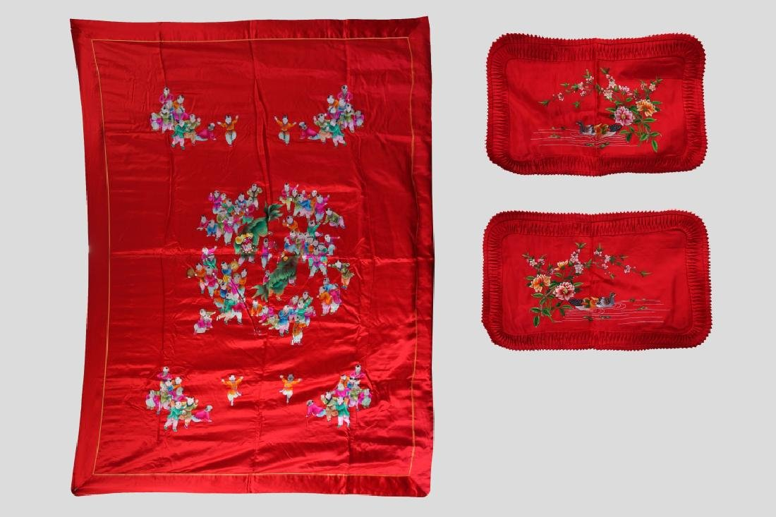 Chinese Embroidered Red Silk Bed Cover, 2 Pillows
