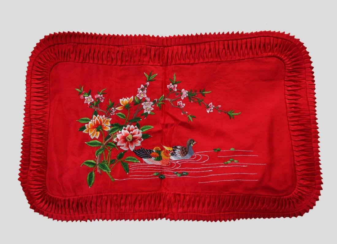 Chinese Embroidered Red Silk Bed Cover, 2 Pillows - 3