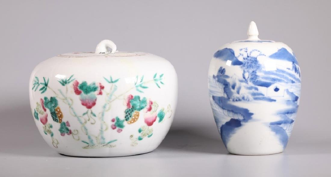 Two 19 C Chinese Porcelain Containers & Covers