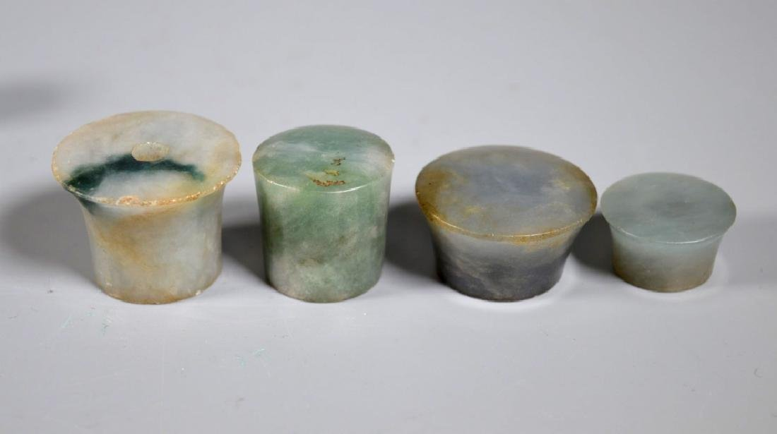 Nine 19 C Chinese Jadeite Carved Pipe End Pieces - 2