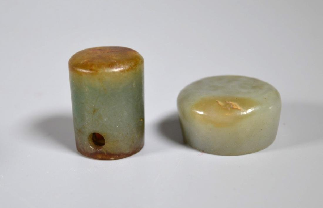 Nine 19 C Chinese Jadeite Carved Pipe End Pieces - 5