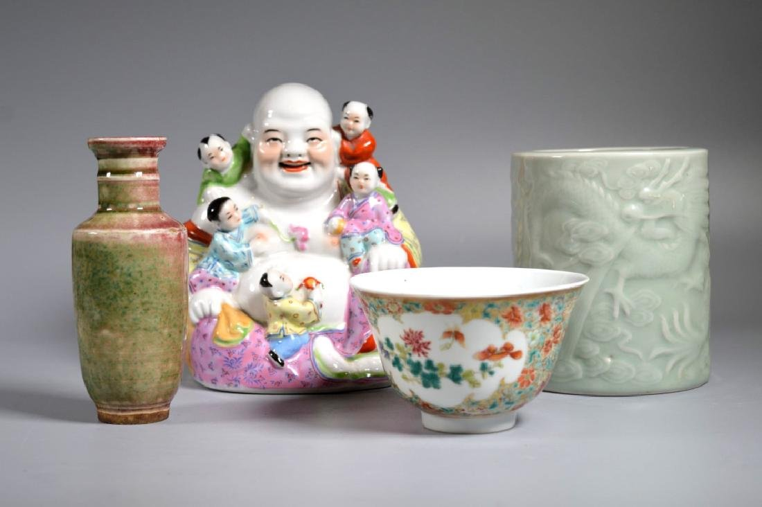 4 Chinese Porcelains; 2 Enameled, 2 in Monochrome
