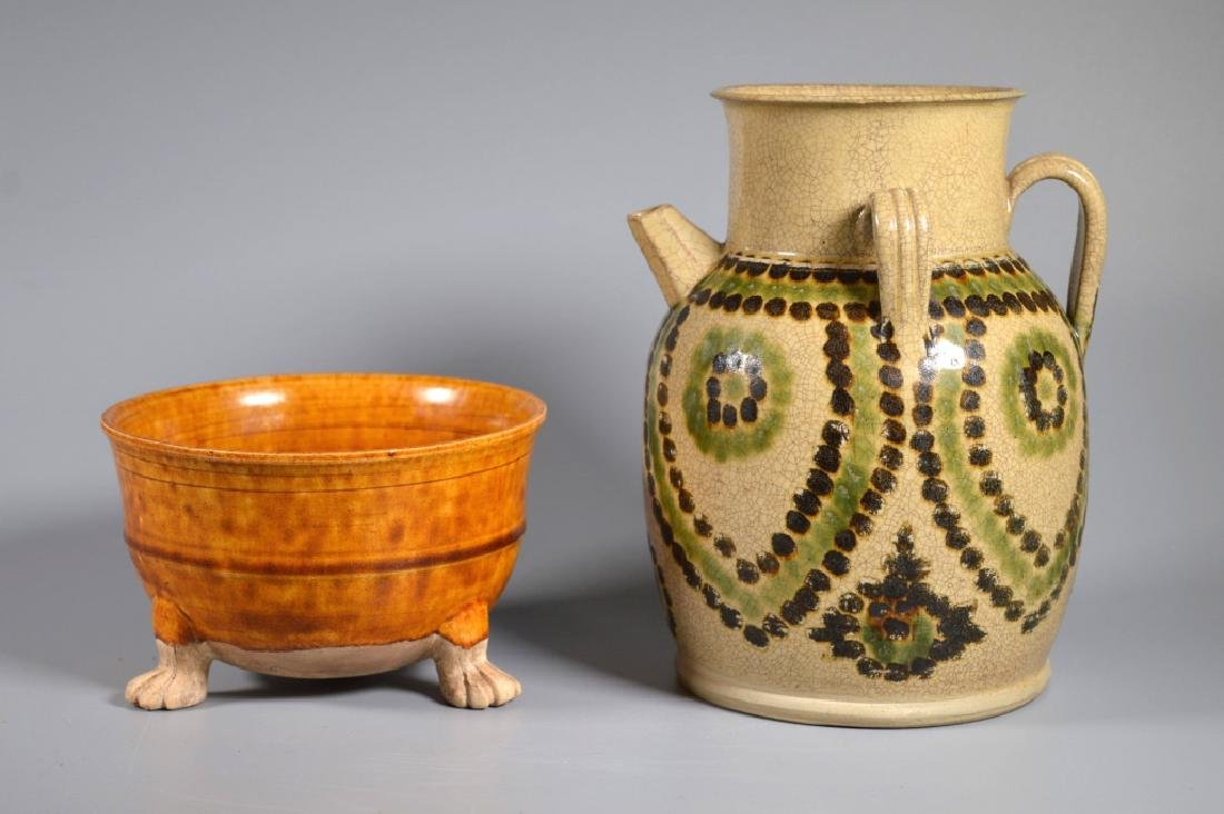 Chinese Changsha Spotted Ewer & Ochre Footed Bowl