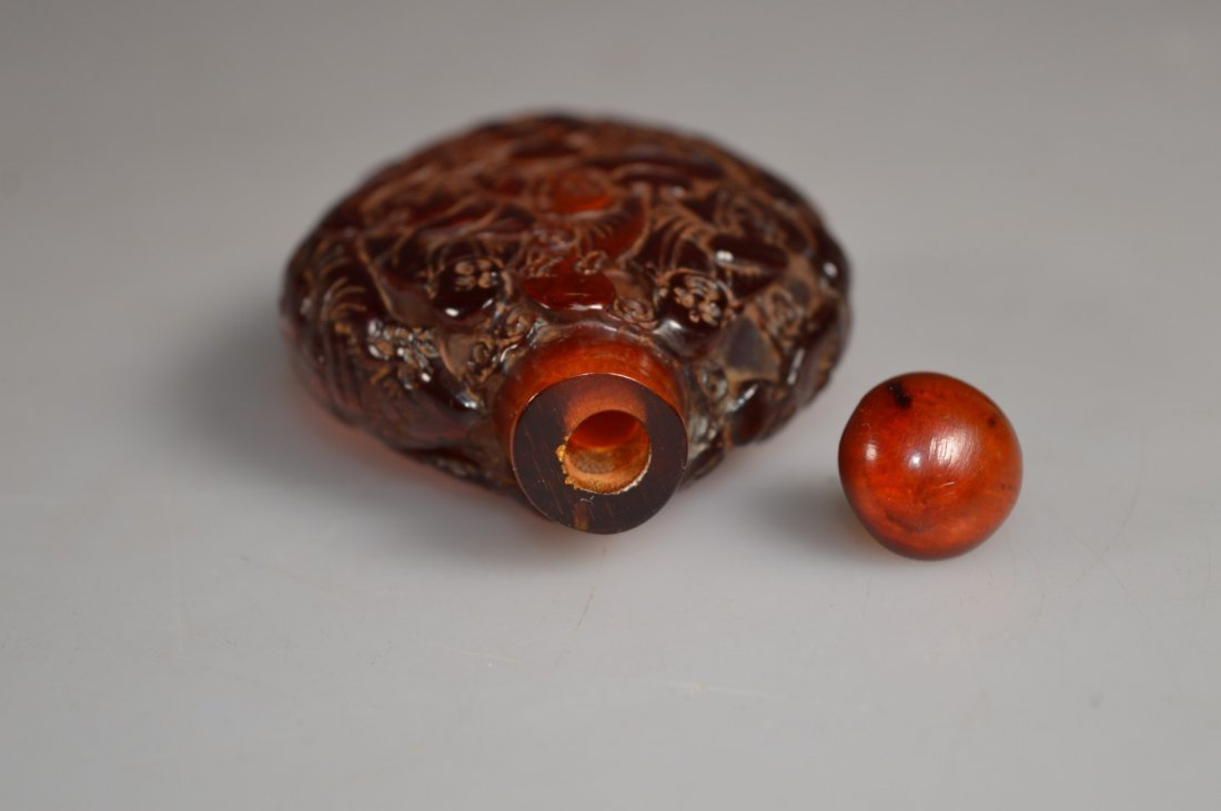 Chinese Cherry Amber Snuff Bottle & Top - 6