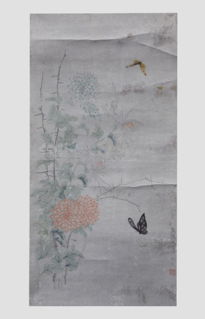 Chinese Painting on Paper; Flowers and Butterflies