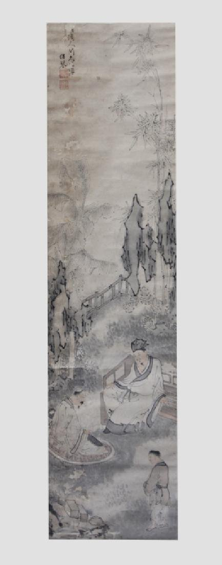 Chinese Painting on Paper; 2 Scholars in a Garden