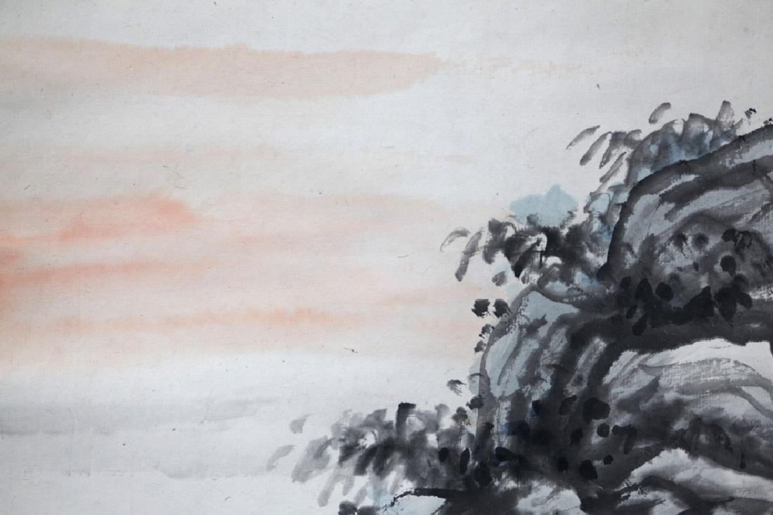 Chinese Ink Painting on Paper; Scholar Views Sky - 2