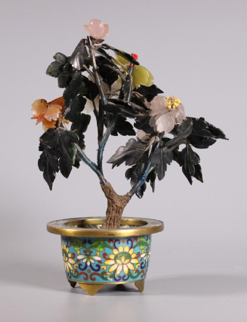 Three Chinese Hardstone & Gemstone Trees - 10