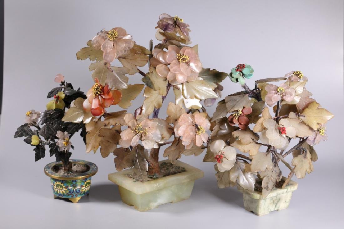 Three Chinese Hardstone & Gemstone Trees