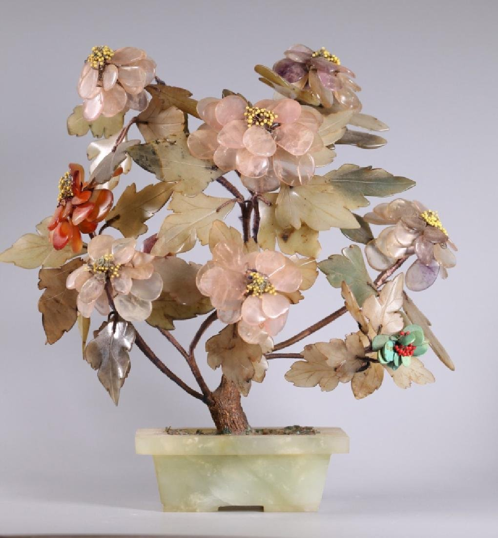 Three Chinese Hardstone & Gemstone Trees - 2