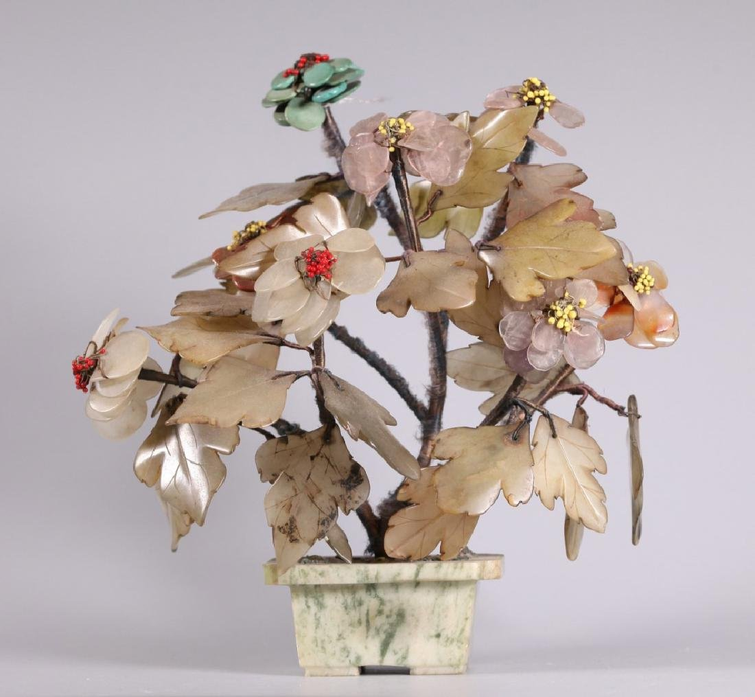 Three Chinese Hardstone & Gemstone Trees - 6