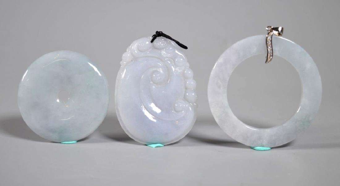 "3 Chinese Natural ""Icy White"" Jadeite Pendants"