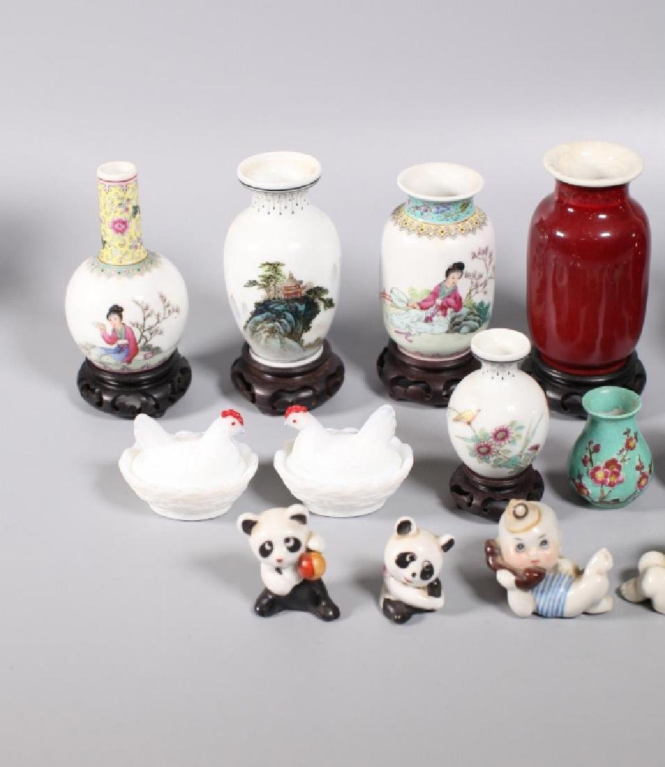 Group 17 Chinese Porcelain Miniatures; 1 Agate Dog - 2