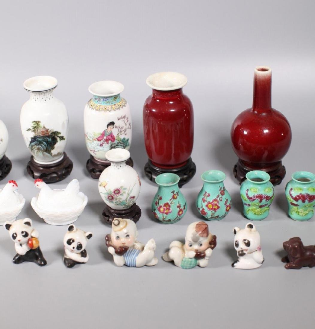 Group 17 Chinese Porcelain Miniatures; 1 Agate Dog - 3
