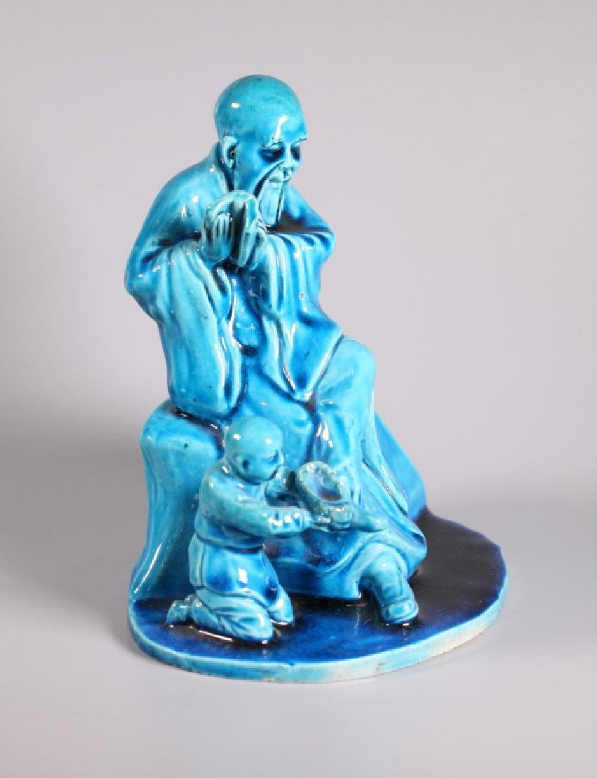 Chinoiserie Turquoise Sevres Style Biscuit Porcelain - 2
