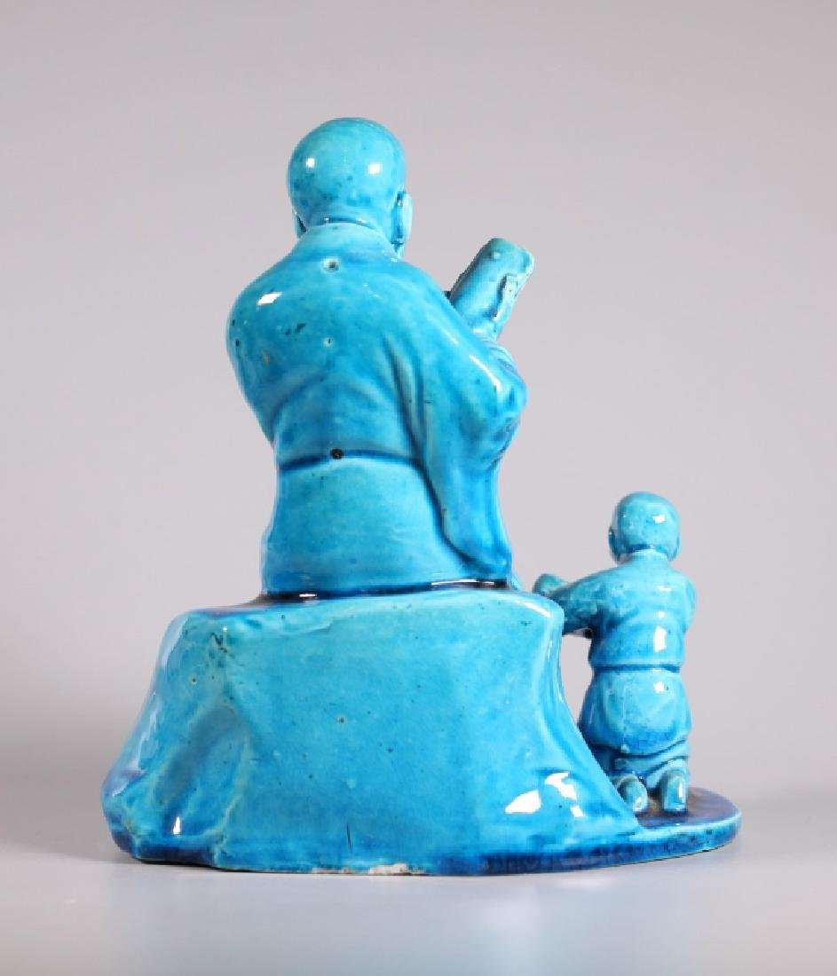 Chinoiserie Turquoise Sevres Style Biscuit Porcelain - 3