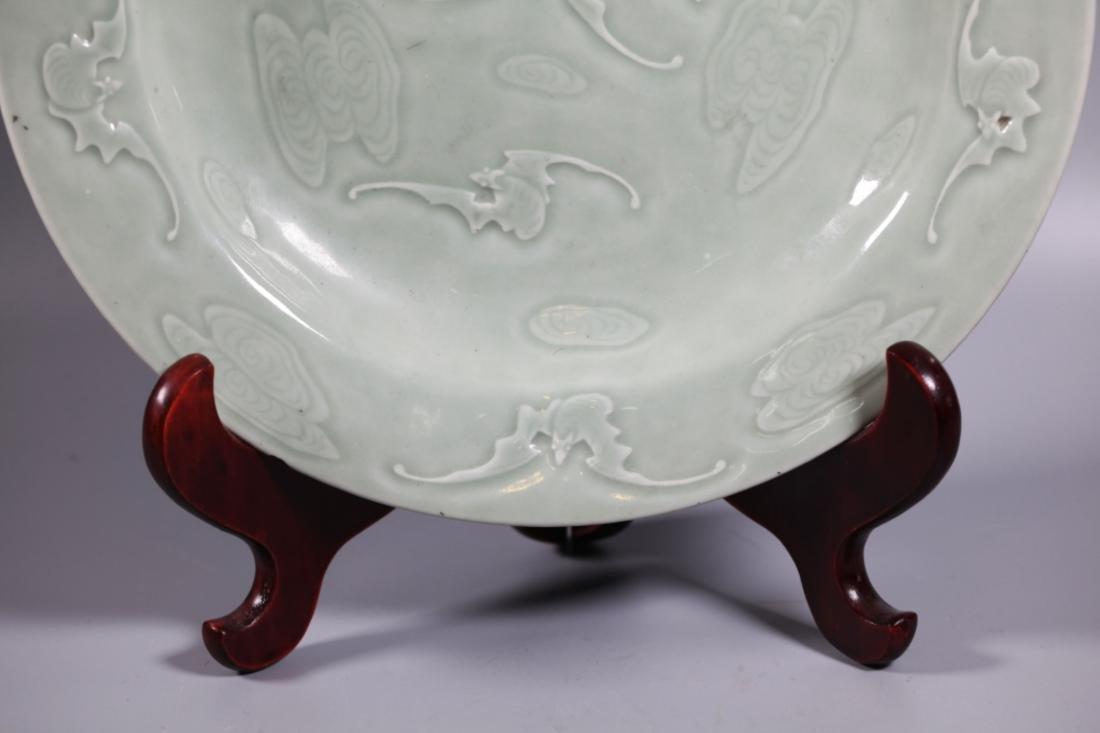 Chinese Carved Celadon Porcelain 9 Bat Plate - 4