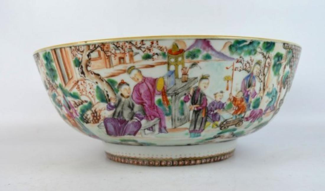 18th C Chinese Mandarin Figure Large Bowl