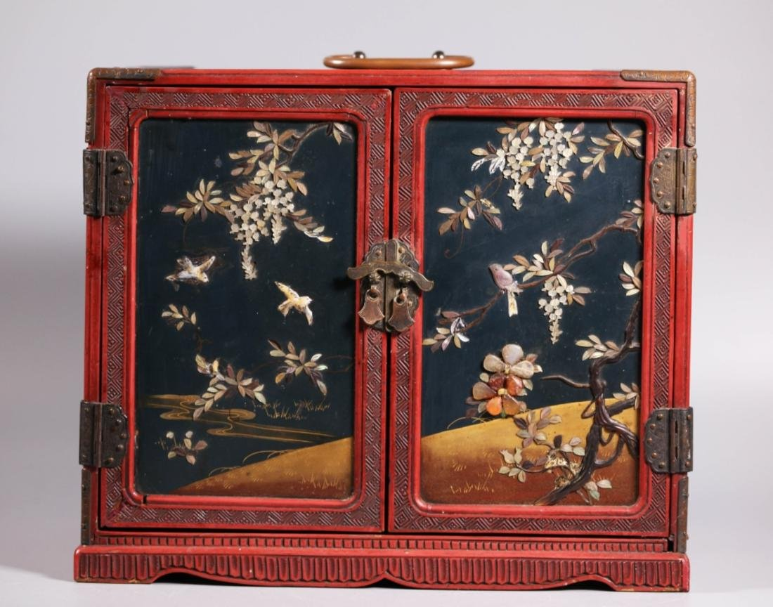 Japanese 19 C 3-Drawer Carved Dragon Lacquer Box