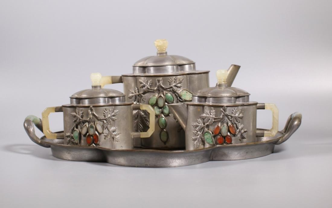 Chinese Qing Peking-Pewter & Jade 4 pc Teapot Set