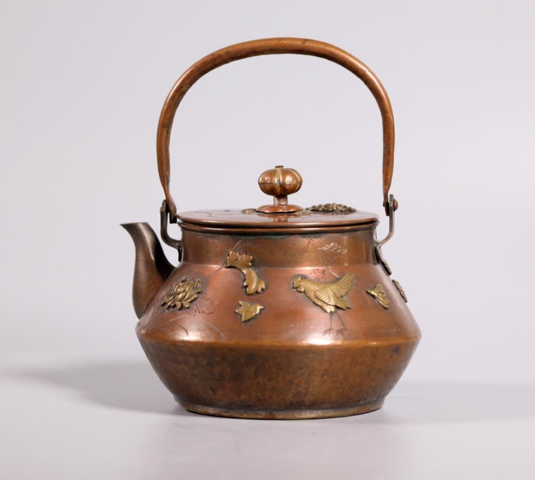 Antique Japanese Mixed Metals Teapot