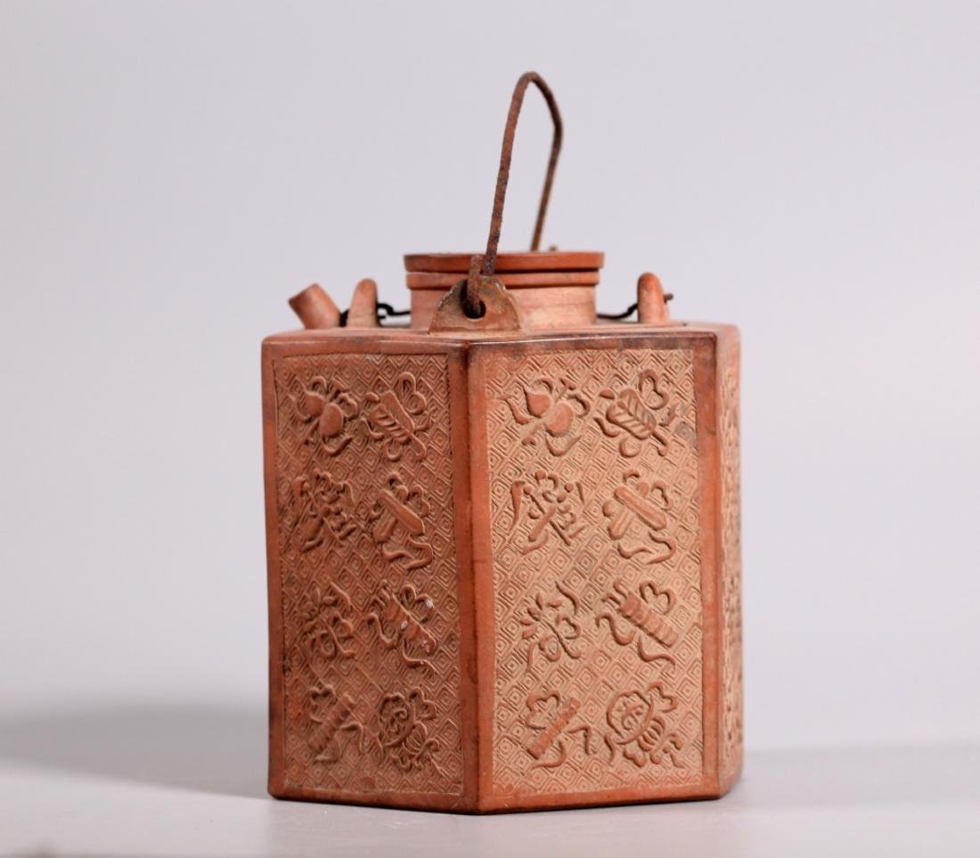 Rare Chinese 18 C Teapot and Hexagon Heater