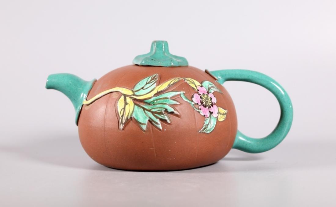 Chinese Enameled Yixing Melon Teapot