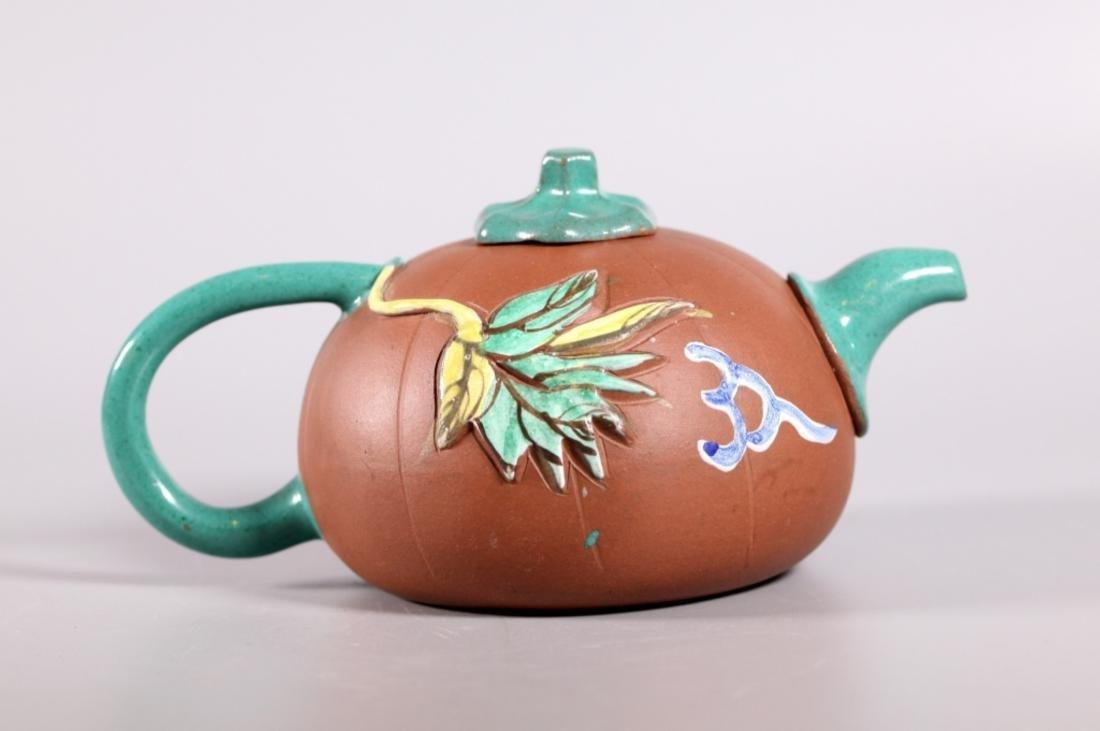 Chinese Enameled Yixing Melon Teapot - 2