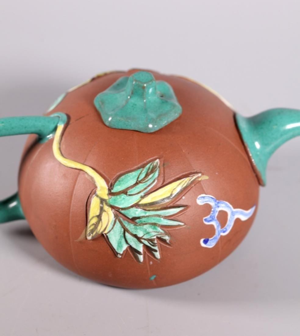 Chinese Enameled Yixing Melon Teapot - 7