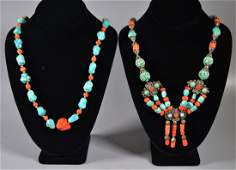 2 Chinese Antique Turquoise  Coral Necklaces