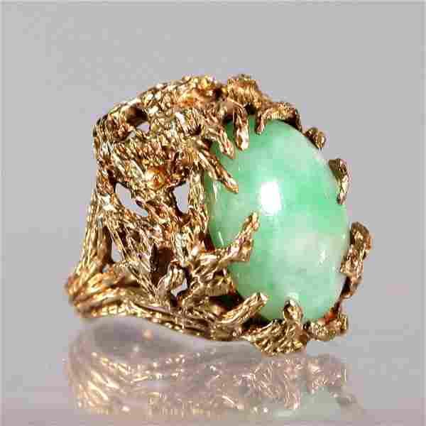Mid Century Modern Jadeite & 14K Yellow Gold Ring