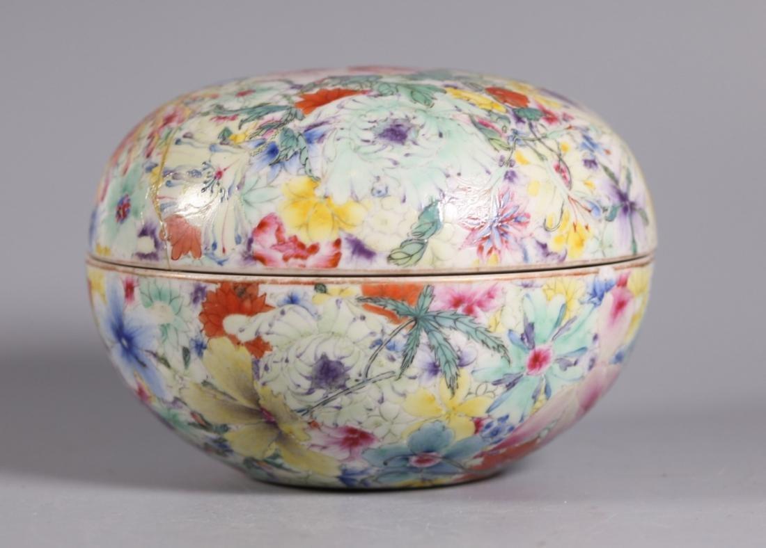 Chinese 18C Qianlong Mille Fleur Porcelain Box