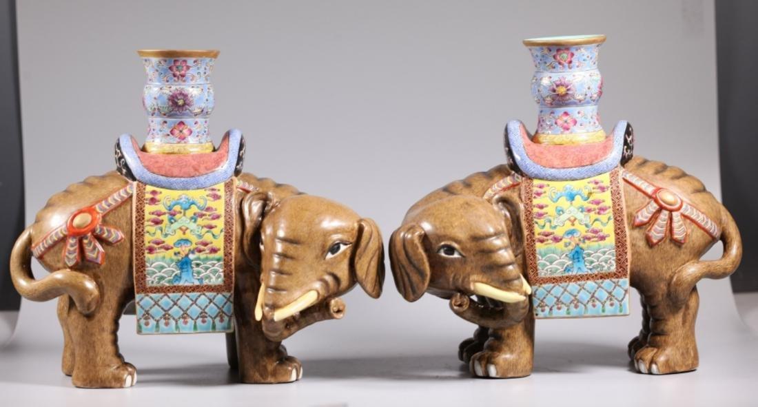 Pair Chinese Enameled Porcelain Elephants & Vases
