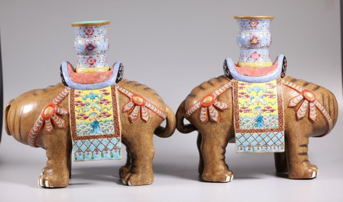 Pair Chinese Enameled Porcelain Elephants & Vases - 2