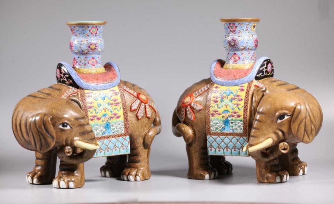 Pair Chinese Enameled Porcelain Elephants & Vases - 3
