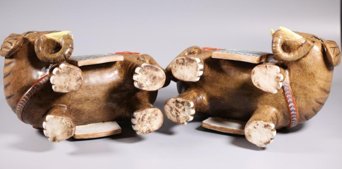 Pair Chinese Enameled Porcelain Elephants & Vases - 4