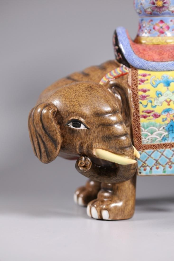 Pair Chinese Enameled Porcelain Elephants & Vases - 5