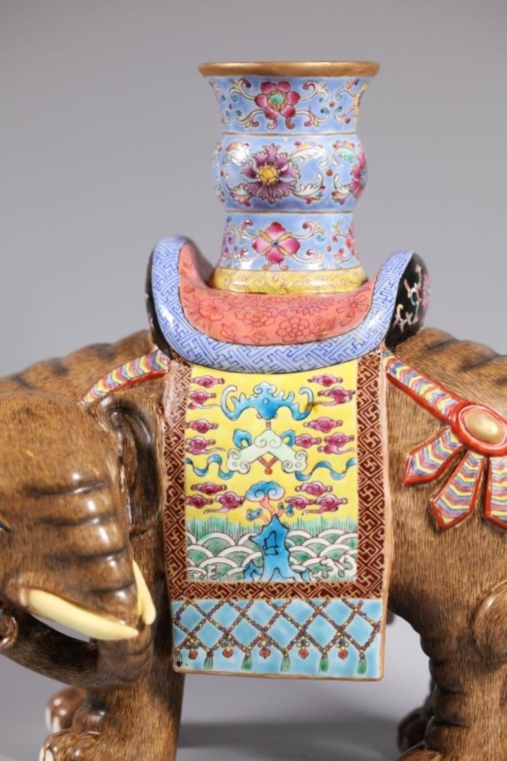 Pair Chinese Enameled Porcelain Elephants & Vases - 6