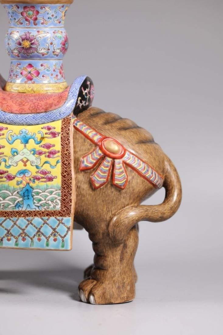 Pair Chinese Enameled Porcelain Elephants & Vases - 7