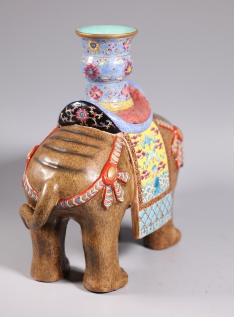 Pair Chinese Enameled Porcelain Elephants & Vases - 8