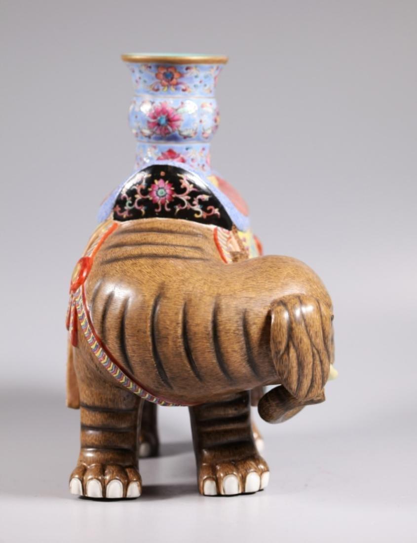Pair Chinese Enameled Porcelain Elephants & Vases - 9