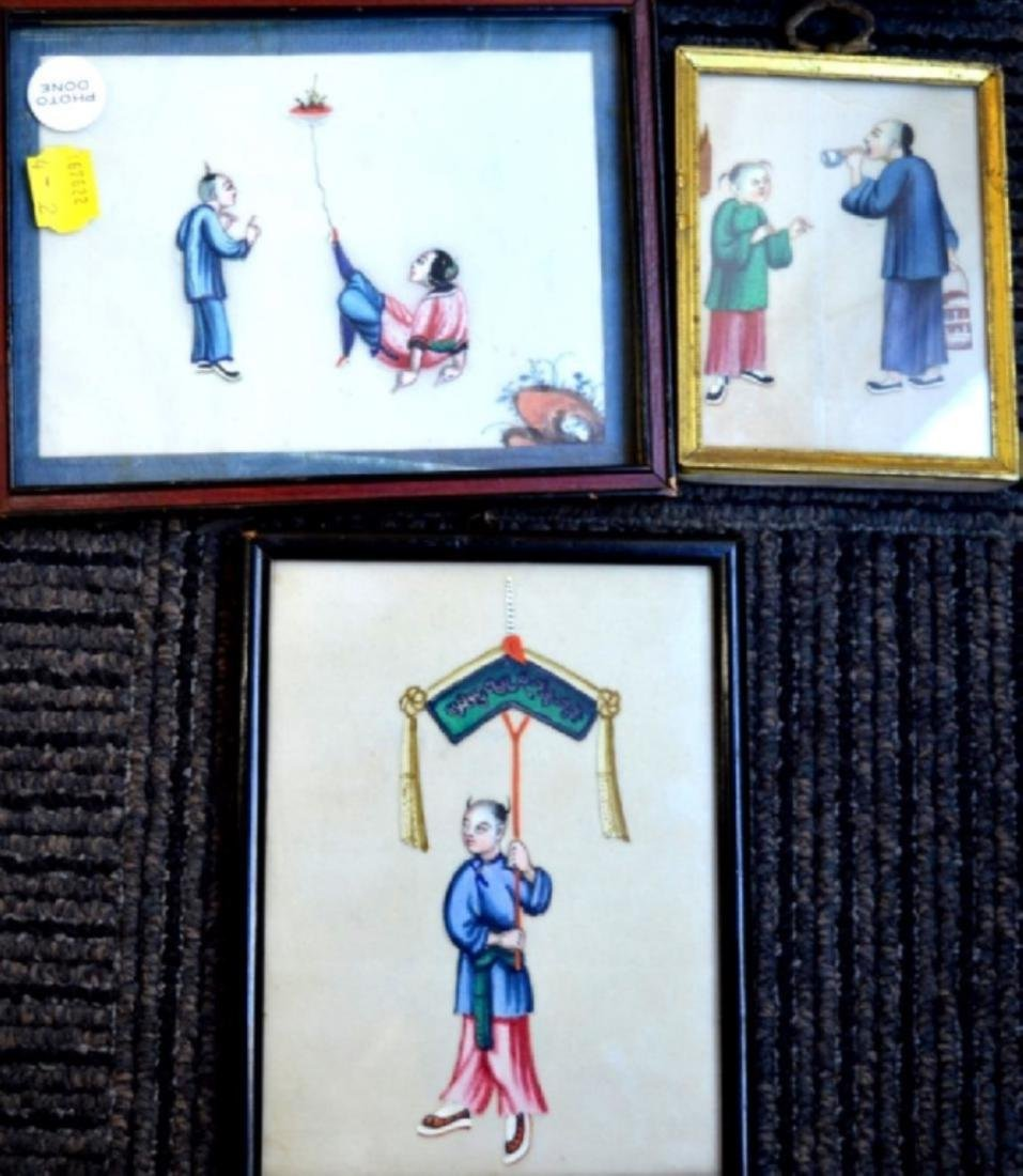 Eleven 19th C Chinese Figure Paintings, Framed - 3
