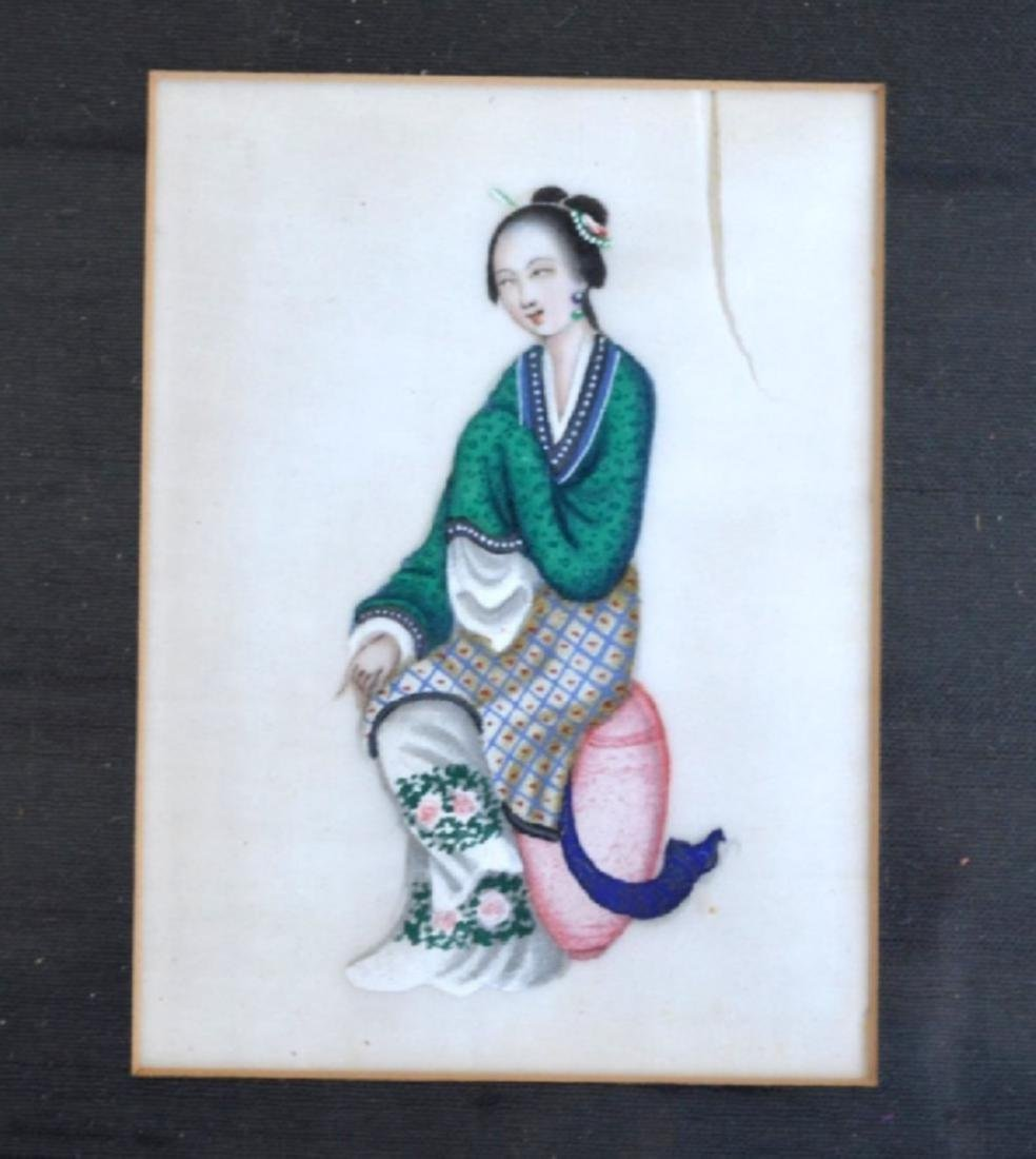 Eleven 19th C Chinese Figure Paintings, Framed - 6