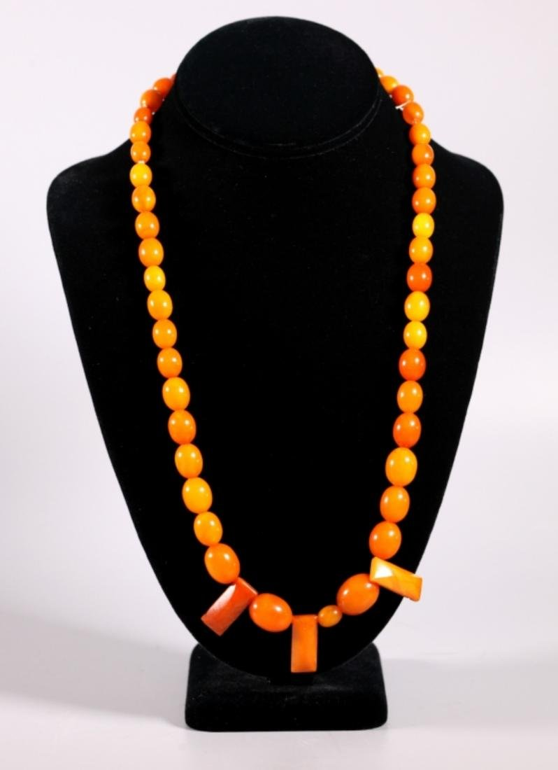 Butterscotch & Clear Amber Beads; Total Weight 39G