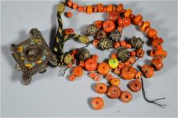 Antique Amber  Coral Bead Necklace 90G