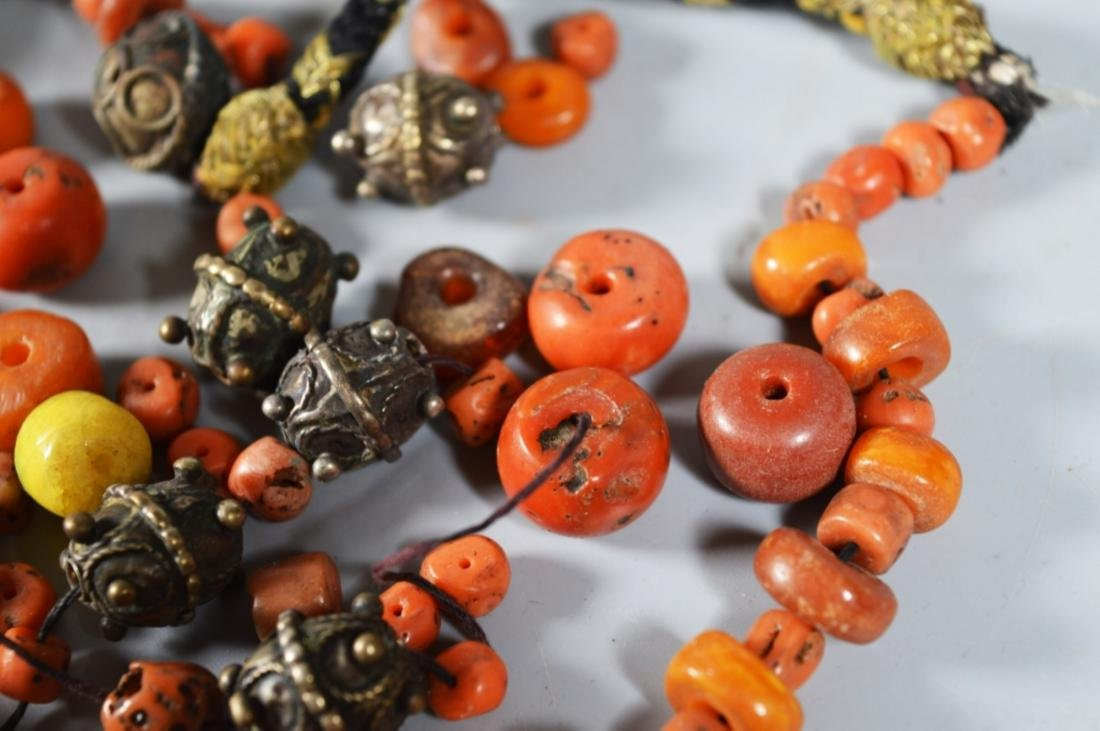 Antique Amber & Coral Bead Necklace; 90G - 2
