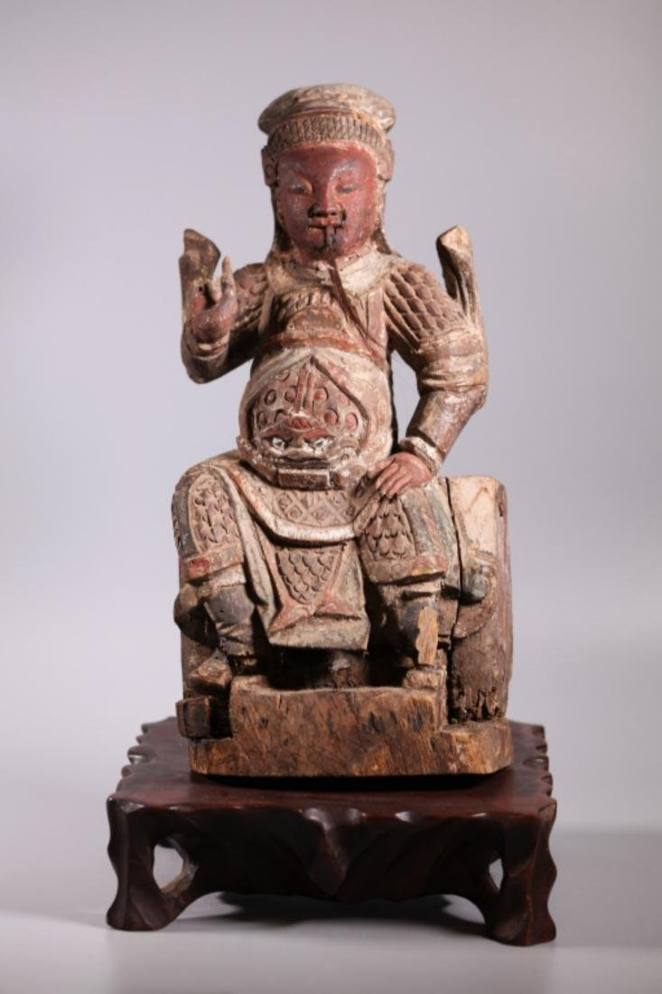 Antique Chinese Qing Dynasty Carved Wood Guandi