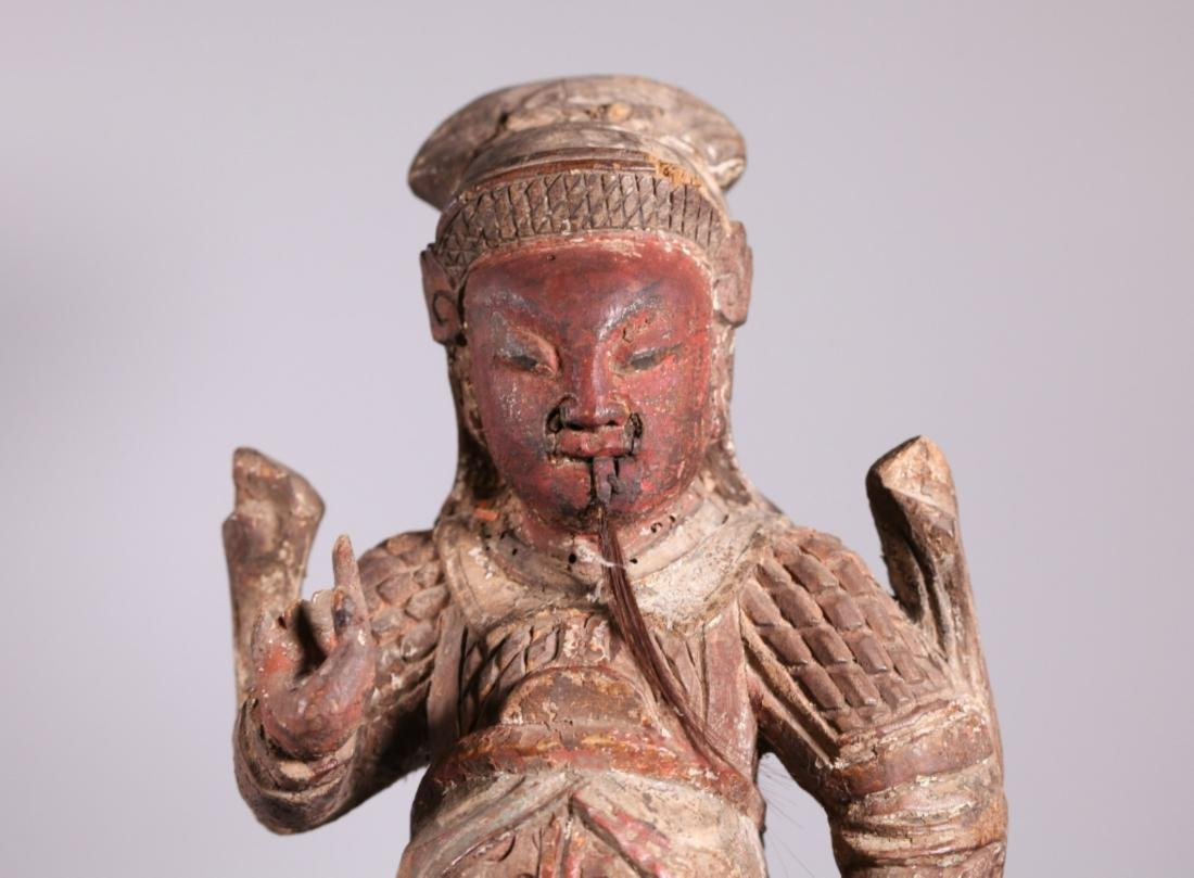 Antique Chinese Qing Dynasty Carved Wood Guandi - 4